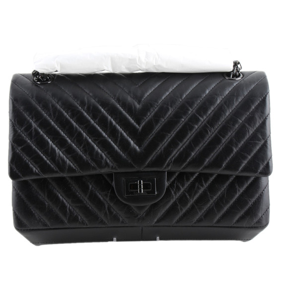 "Chanel ""so Black"" Chevron 226 Double Flap Bag"