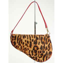 Dior Vintage Leopard Print Pony Hair Saddle Bag