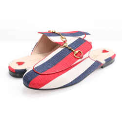 Gucci Striped Canvas Princetown Mules - Red/White/Blue