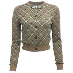 Miu Miu Plaid Wool Button Tan & Green Sweater