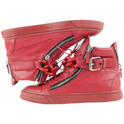 Giuseppe Zanotti Men's 43.5 RDM444 Red Leather High Top London Chain Sneaker 373zan225