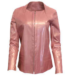 Chanel Pink Patent and Lambskin Leather Zip Jacket