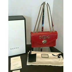 Gucci Rajah Medium Red Leather Shoulder Bag Brand New! Authentic B122