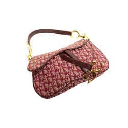 Authentic Dior Monogram Trotter Signature Red Leather Canvas Gp Double Saddle Shoulder Bag
