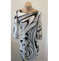 Emilio Pucci Gray Black & White Abstract Print Silk Jersey 3/4 Sleeve Dress - 10