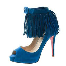 Christian Louboutin Cobalt Blue Suede Tina Fringe Detail Ankle Strap Peep Toe