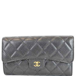 CHANEL Large Flap Quilted Caviar Wallet Black