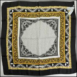 Rdc10315 Authentic Versace Black/ivory/gold Silk Scarf