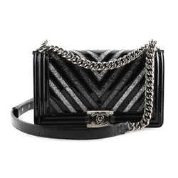 CHANEL Patent Glitter PVC Chevron Quilted Medium Boy Flap