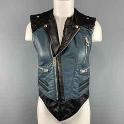 Balenciaga Size 8 Black & Teal Blue Quilted Leather Biker Vest