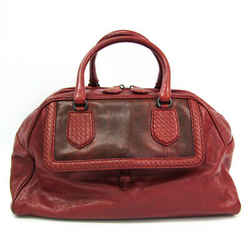 Bottega Veneta Intrecciato Unisex Leather Boston Bag Red Brown BF523067