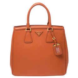 Prada Orange Saffiano Leather Parabole Tote