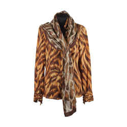 Valentino Animalier Print Silk Blouse with Scarf Size 8