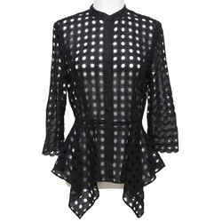 OSCAR DE LA RENTA Black Cardigan Jacket Eyelet Lace 3/4 Sleeve Sz 4