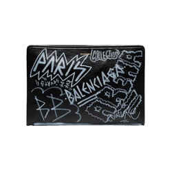 Balenciaga Bazar Graffiti Gray Black Arena Leather Pouch 443658