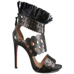 Alaia Size 8.5 Black Cutout Leather Fringe Ankle Sandals
