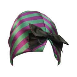 YVES SAINT LAURENT Rive Gauche Purple and Green Silk Hat with Bow