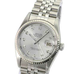 Silver Mens Datejust Diamond Dial 18k White Gold Fluted Bezel Watch