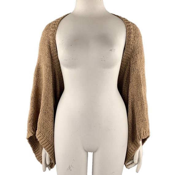 Ralph Lauren Size M/l Tan Knitted Cotton Shrug Cardigan
