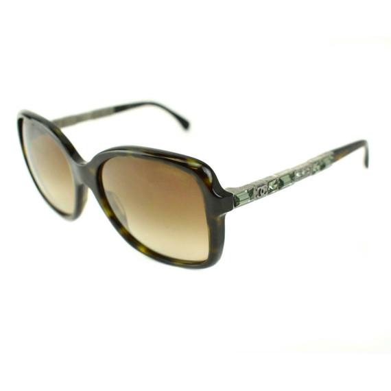 "CHANEL ""Bijou"": Tortoise Brown, Crystals & ""CC"" Logo Sunglasses (md)"