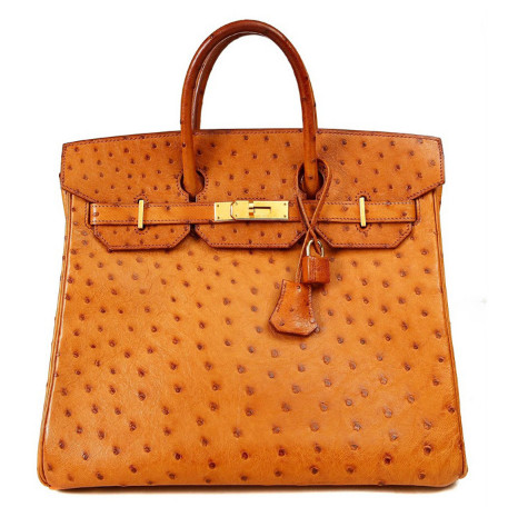 Hermes Birkin 32 Cm Saffron Ostrich Hac Bag