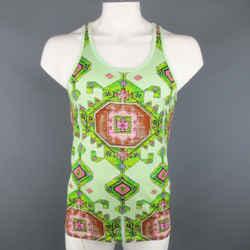 Givenchy Resort 2016 Size S Mint Green Aztec Carpet Print Cotton Tank Top