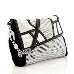 Jimmy Choo Ally Bag Perforated Black White Leather Chain Purse Messenger