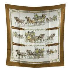 Hermes Vintage Silk Attelages a Quatre 1970 Philip Ledoux