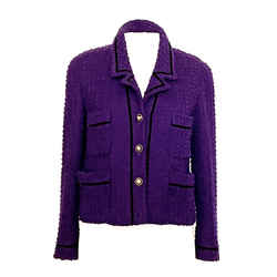 Chanel Vintage Tweed Cropped Jacket In Rich Deep Purple Divine Buttons 42 / 8