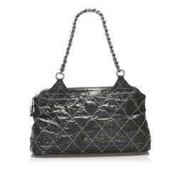 Vintage Authentic Chanel Black Calf Leather Wild Stitch Shoulder Bag France