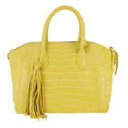 Yellow Croc Satchel Bag