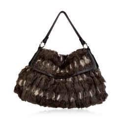 Fendi Brown Lapin Fur Leather Chef Large Shoulder Bag