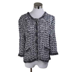 Chanel Black and White Open Weave Sweater Size 6