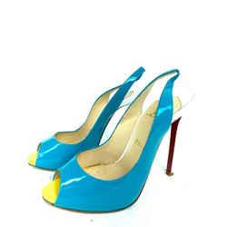 Christian Louboutin Flo Sling 120 Patent Blue White 3Loub629