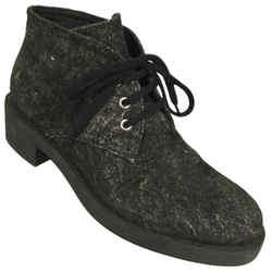Chanel Black / Grey Lace Up Suede Calfskin Ankle Boots/Booties