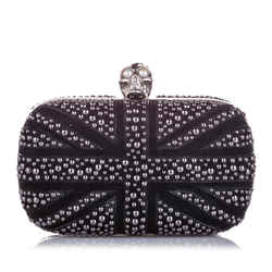 Vintage Authentic Alexander McQueen Britannia Skull Box Studded Suede Clutch Bag