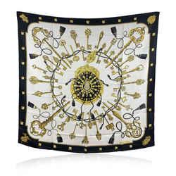 Hermes Paris Vintage Black Silk Scarf Les Clefs 1965 Caty Latham