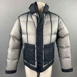 CALVIN KLEIN COLLECTION Size 38 Navy & White Mesh Polyamide Zip Up Jacket