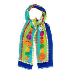 100% Authentic Moschino Smiley Face Neon Blue & Green 100% Silk Printed Scarf