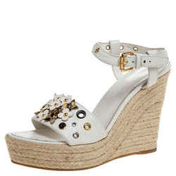 Louis Vuitton White Leather Flower Espadrilles Wedge Platform Ankle Strap