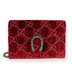 Gucci Red Cipria GG Monogram Velvet Dionysus Mini Chain Wallet