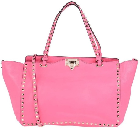 New Smooth Leather Rockstud Tote Bag