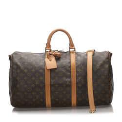 Vintage Authentic Louis Vuitton Brown Monogram Keepall Bandouliere 50 Usa