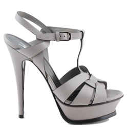 Saint Laurent Gray Tribute Oyster Leather Heel Pumps