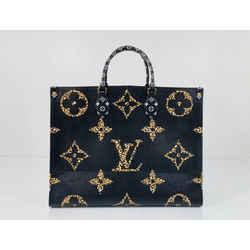 Louis Vuitton Jungle Giant Monogram Onthego GM in Black with Orange Tote Shoulder Handbag