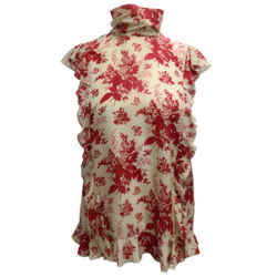 RED Valentino Beige & Floral Printed Silk Blouse