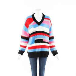 MSGM Sweater Multicolor Striped V-Neck SZ M