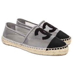Chanel Mesh Grey and Black CC Espadrilles US 8 / EU 38