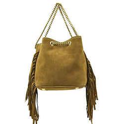 Saint Laurent Women's Emmanuelle Brown Suede Fringe Bucket Bag 434594 7735
