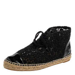 Chanel Black Lace And Patent Leather Cap Toe High Top Espadrille Sneakers Size
